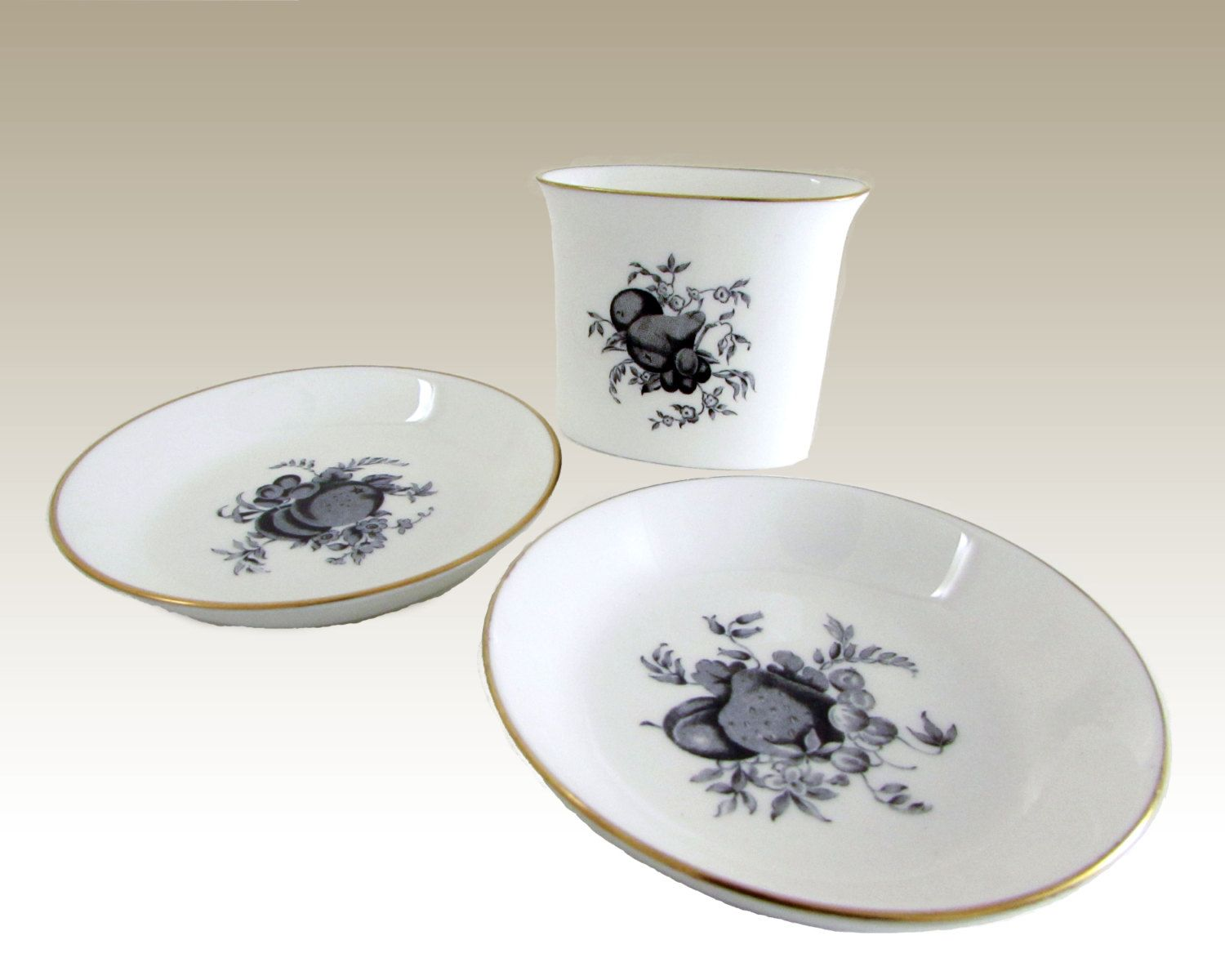 Royal Worcester Delecta in Black Cocktail Cigarette Holder & Ashtray Smoking Set Fine Bone China Circa 1961 Toothpick Holder Coasters by WhatnotGems on Etsy