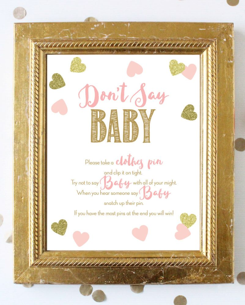 Don\'t Say Baby Game Sign 8x10 . Pink and Gold Instant Download ...
