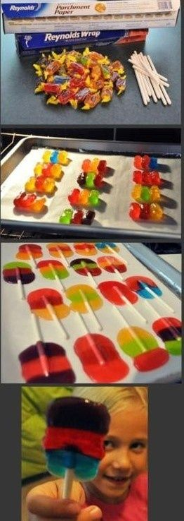jolly ranchers lolli pops 200 degrees for 5 minutes. Yummy! An easy money maker too..