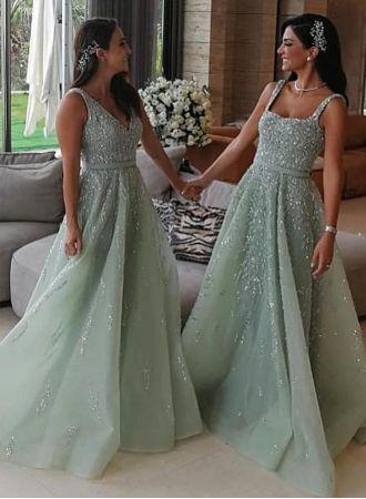 Luxus Brautjungfernkleider Lang Mint | Kleider für ...