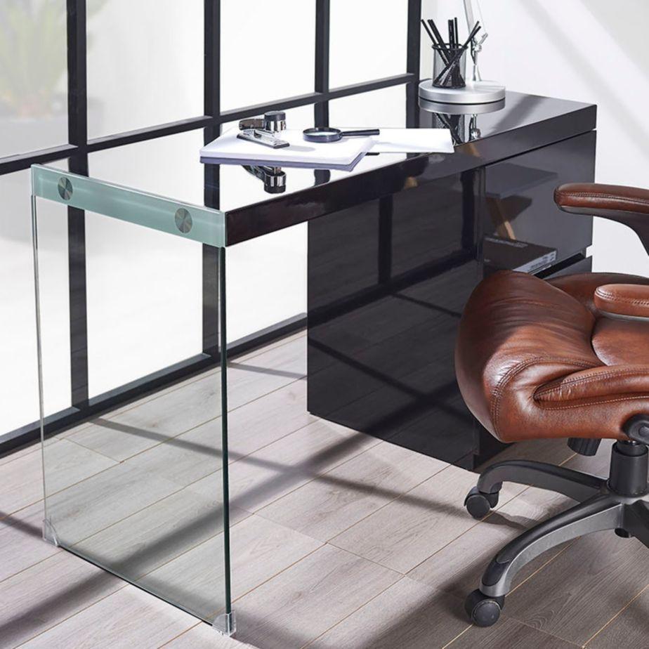 Escritorio negro con 2 cajones y lateral de vidrio home library studio pinterest products - Escritorio cajones ...