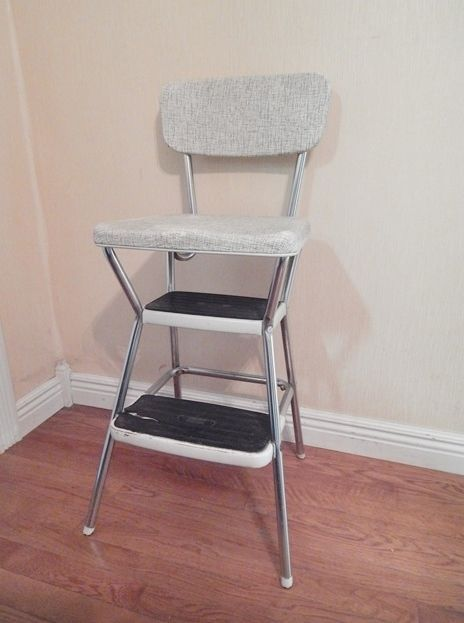 Super Vintage Cosco Step Stool White Speckled Chair With Padded Gmtry Best Dining Table And Chair Ideas Images Gmtryco