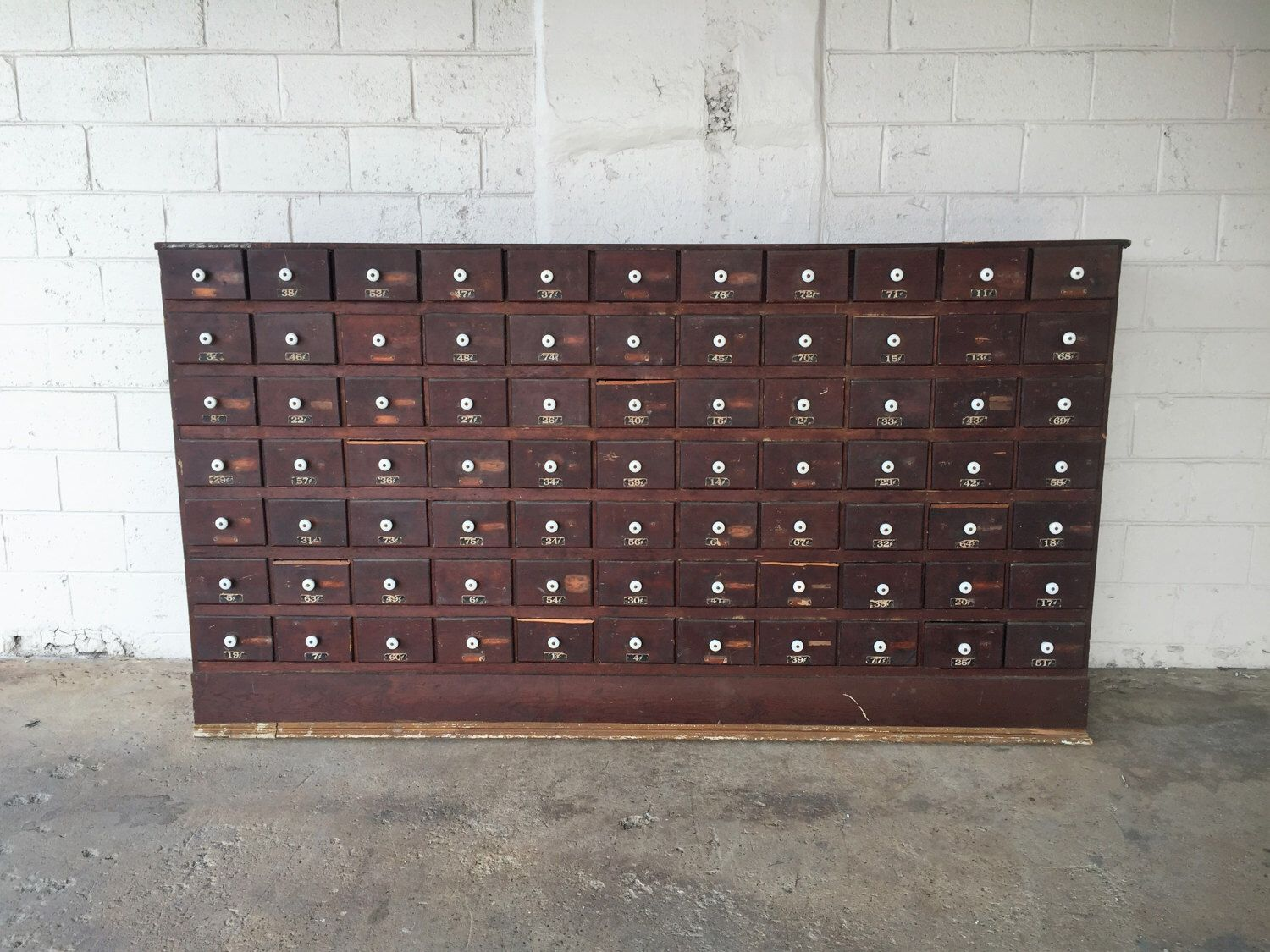 HUGE Antique Hardware Store 77 Drawer Wooden Apothecary Cabinet Parts Bin  Card Catalog General Store TV - HUGE Antique Hardware Store 77 Drawer Wooden Apothecary Cabinet