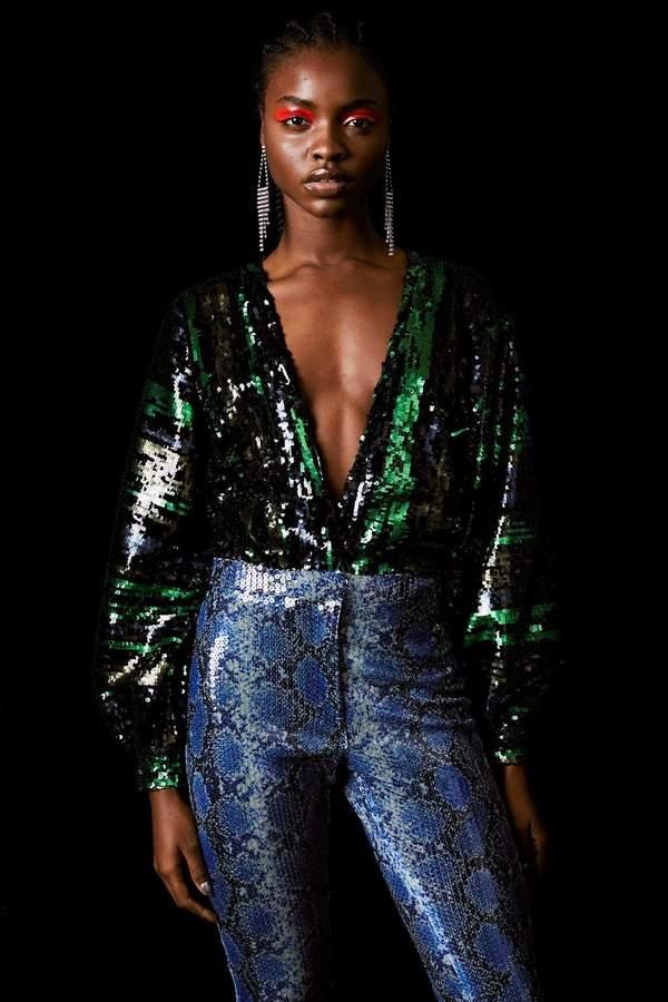 04d5167026fe Topshop Striped Sequin Bodysuit by x Halpern   Party in 2019 ...