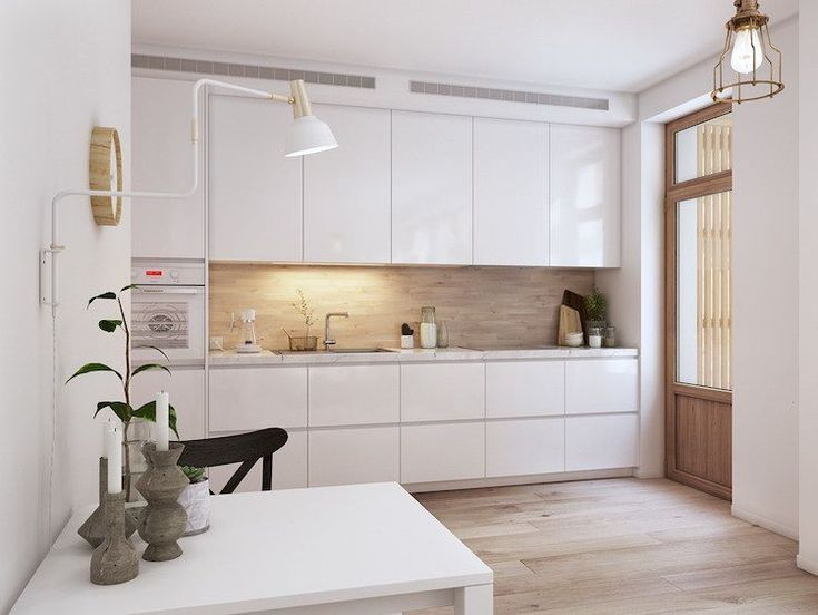 Cuisine Blanche Scandinave Credence Bois Clair Armoires Sans Poignees Cuisine Blanche Credence Bois Cuisine Blanche Et Bois