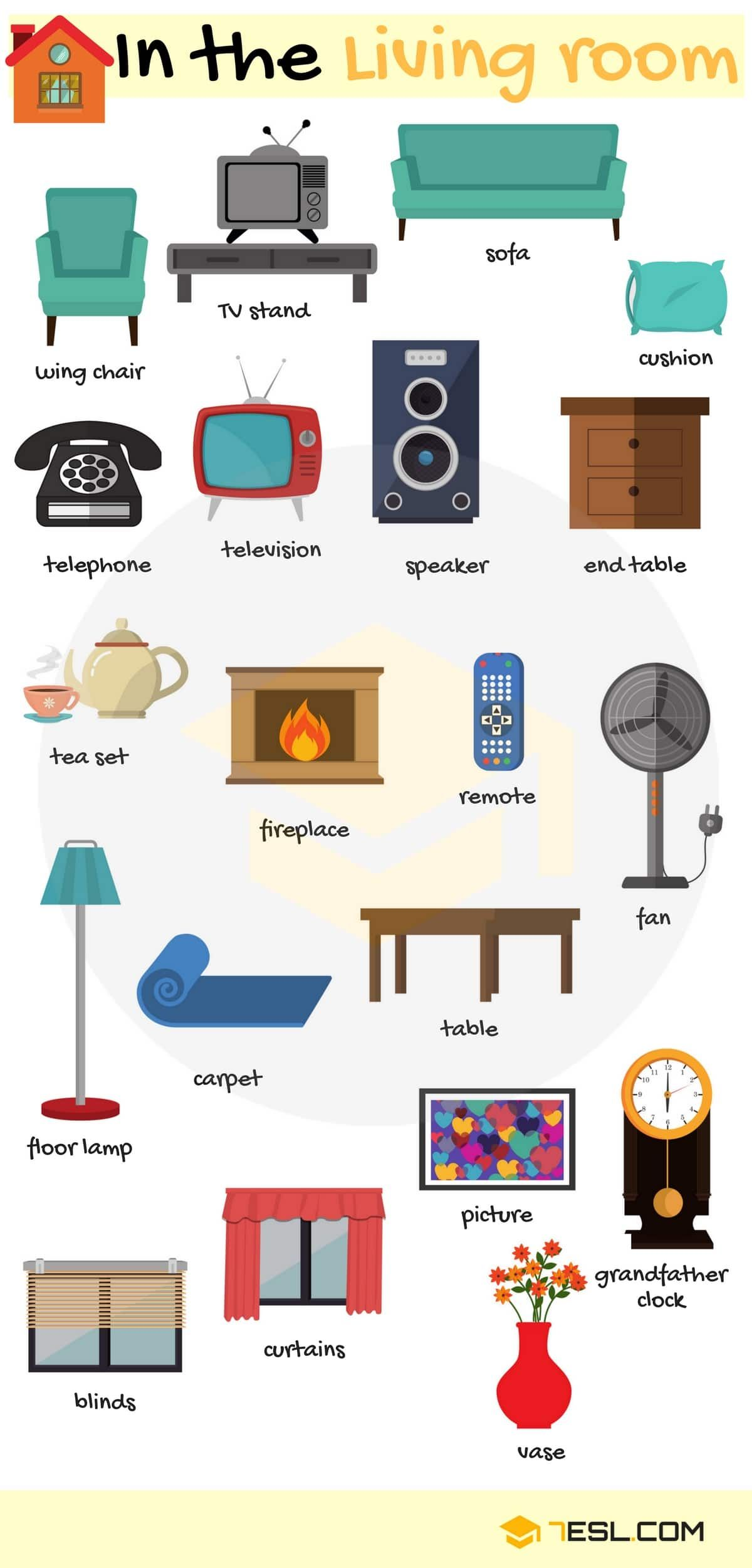 Furniture Vocabulary In English Ingles Pinterest