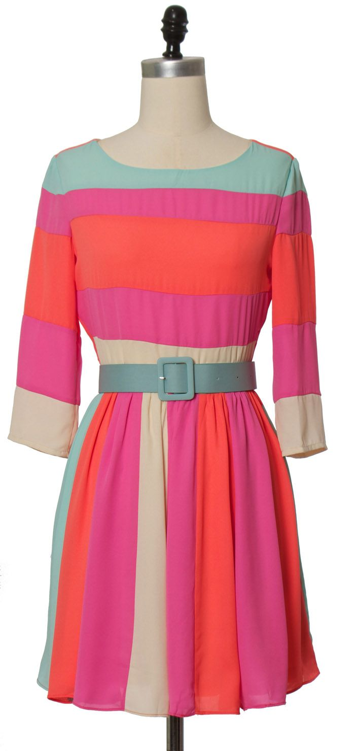 Ark u co color block belt dress chloelovescharlie