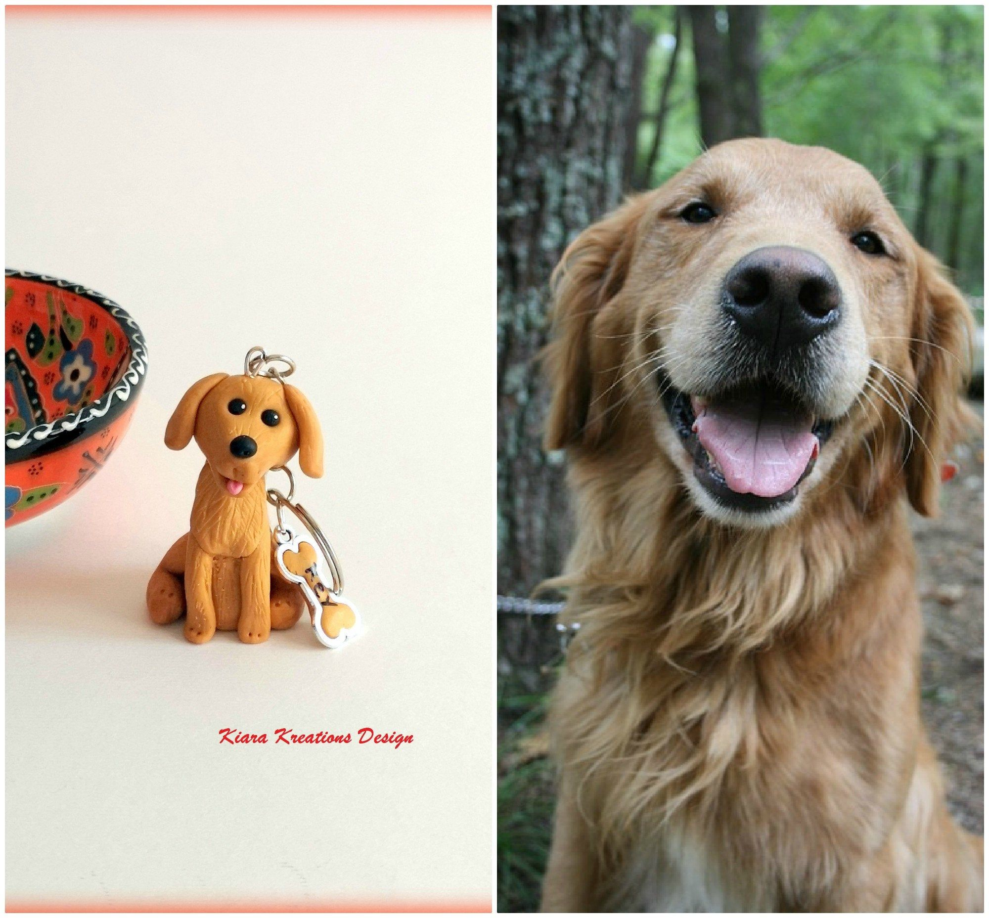 Golden Retriever Keychain In Polymer Clay Labrador Jewelry For A Pet Lovers Gift Dog Figurine For Pet Lovers Golden Retriever Jewelry In 2020 Dog Dad Gifts Gifts For Pet Lovers Gifts