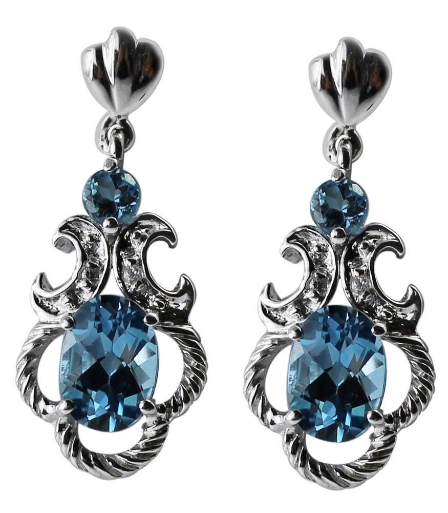 Exotic fashion jewelry - Blue Topaz 2 52 Ct Exotic Drop Earring In Sterling Silver Fashion Jewelry Carillonindia