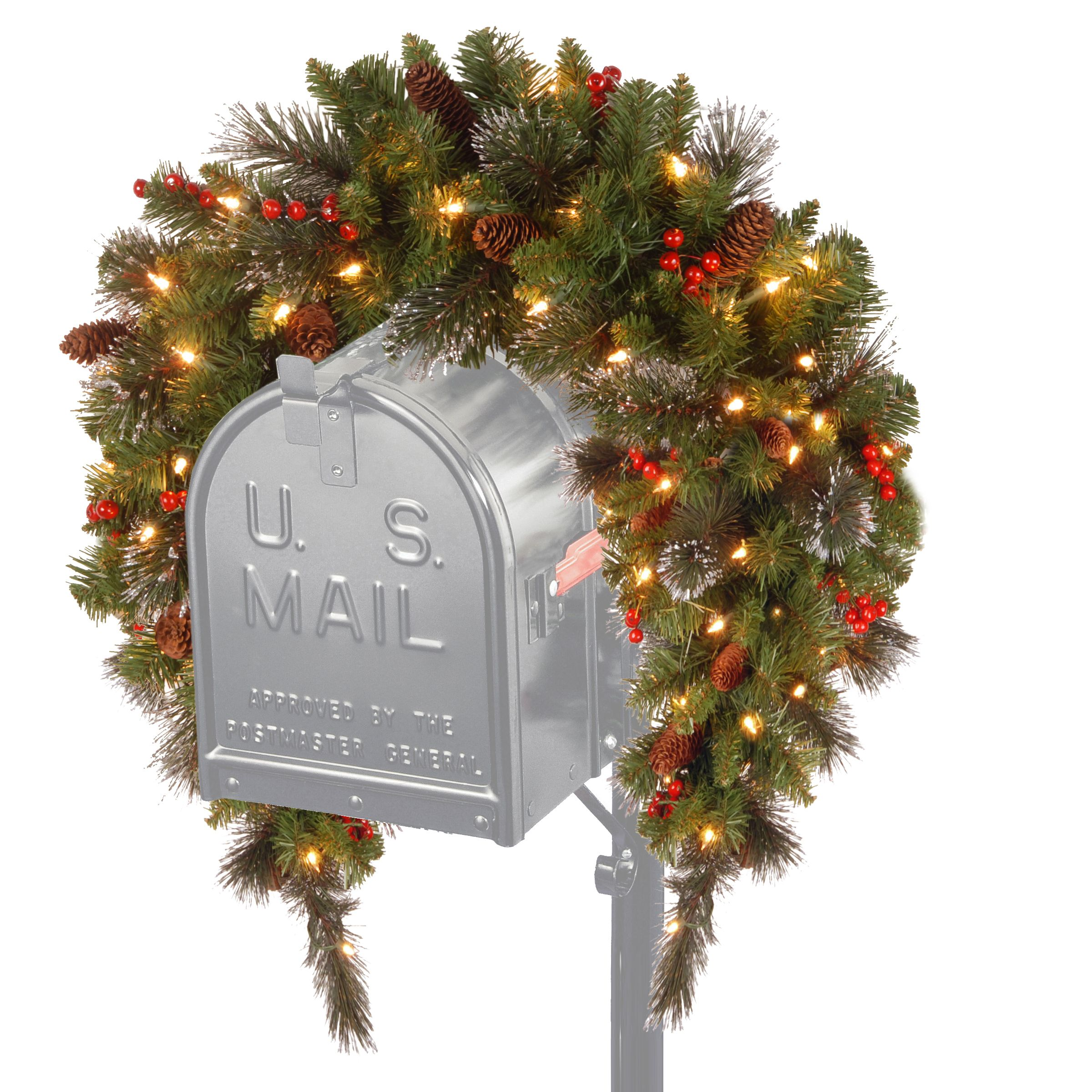 36 Classic Spruce Mailbox Swag With Battery Operated Warm White Led Lights Mailbox Decor Outdoor Christmas Outdoor Christmas Decorations