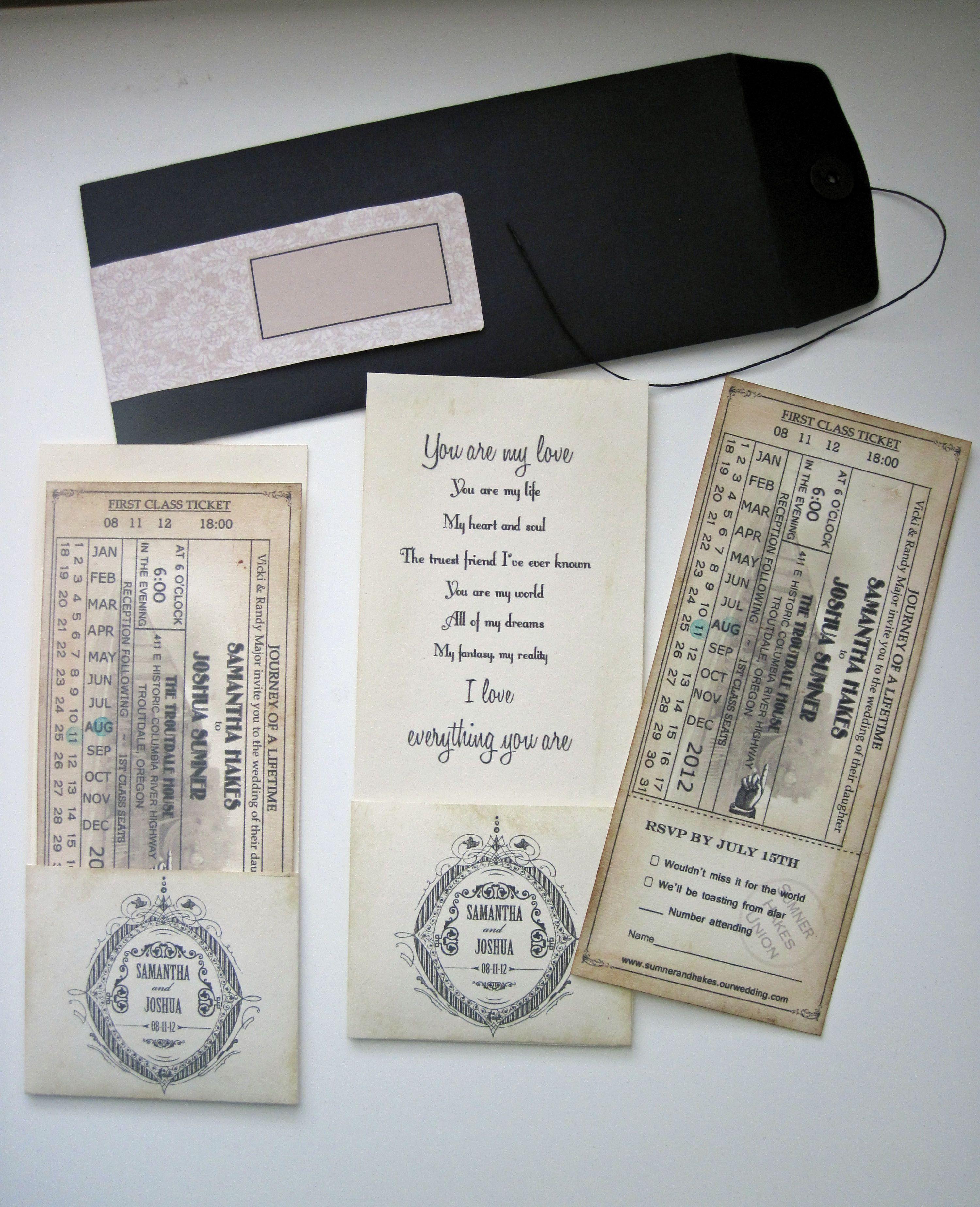 Wedding Invitation - Train ticket with tear off stub for RSVP ...