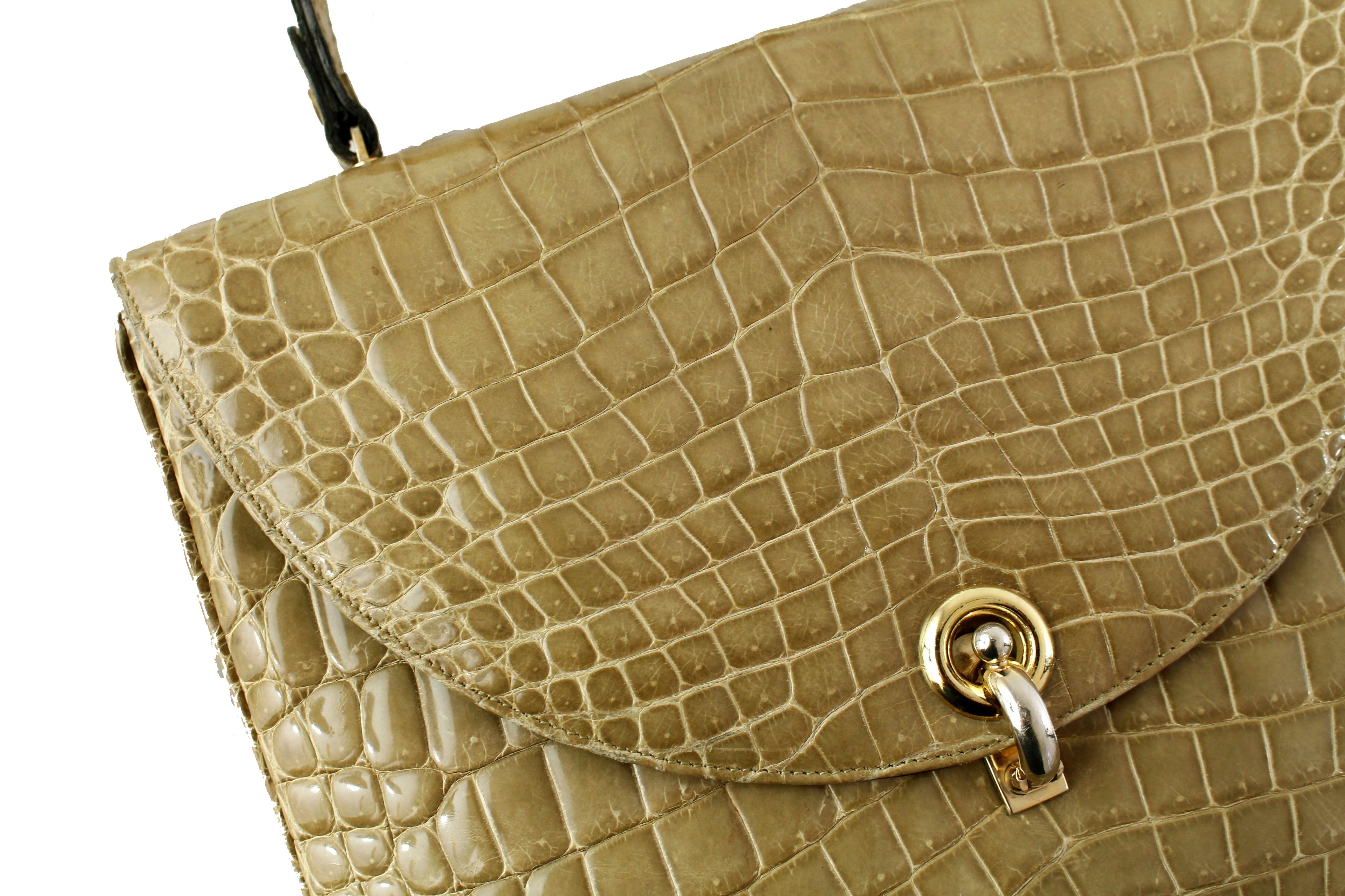 67e861c59465 Vintage Toasted Beige Crocodile Handbag