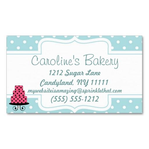 Baking and Bakery Boutique, Blue Polka Dot Business Cards