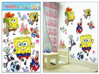 3D Cartoon Spongebob Wall Stickers Home Decoration Wall Decals for ...