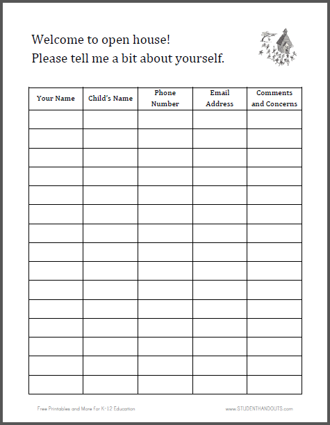 Signin Sheet for Open House Free to print PDF file – Free Sign in Sheet