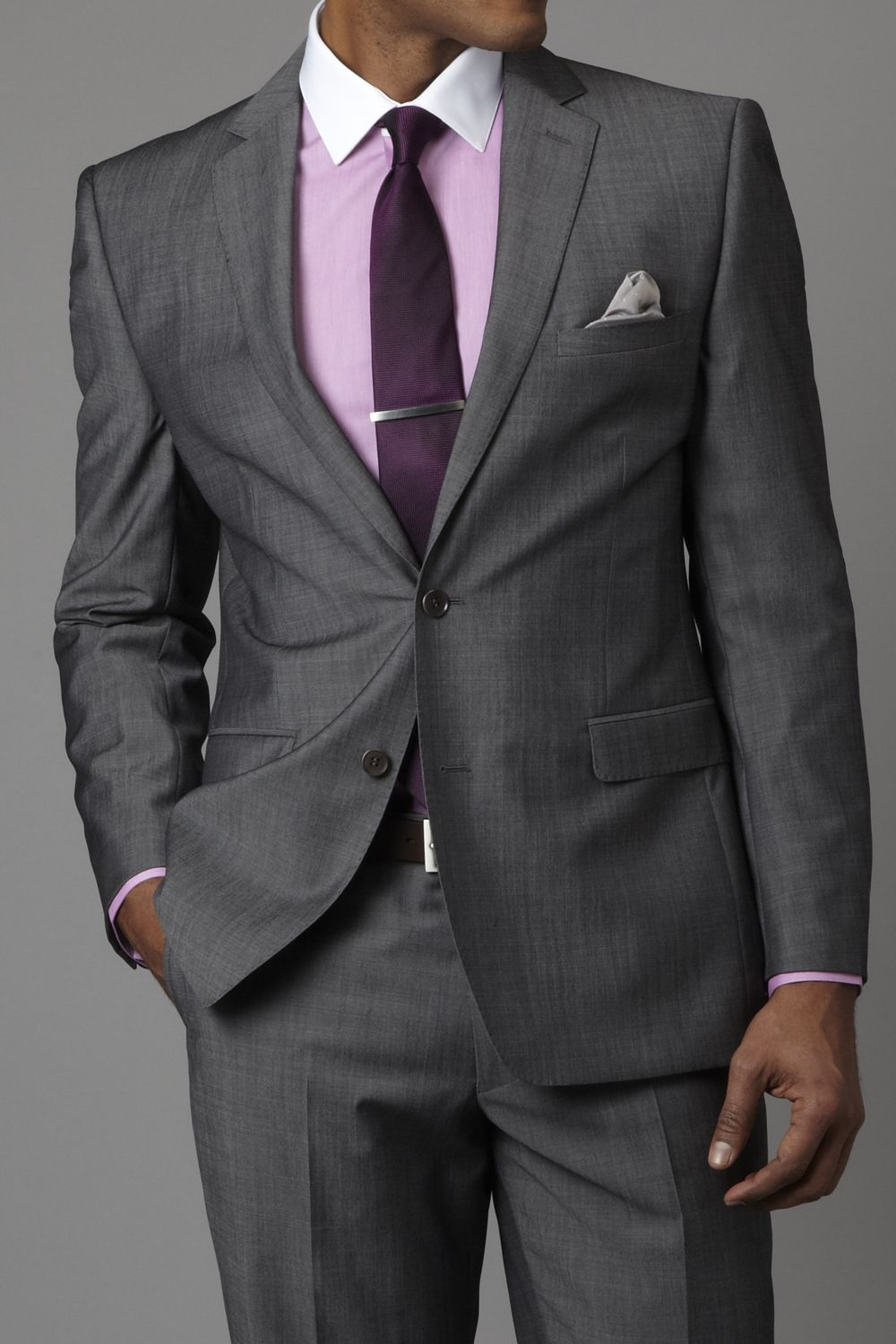 Dark grey suit with splash of purple a 6figurejobs color for Shirt and tie for charcoal suit