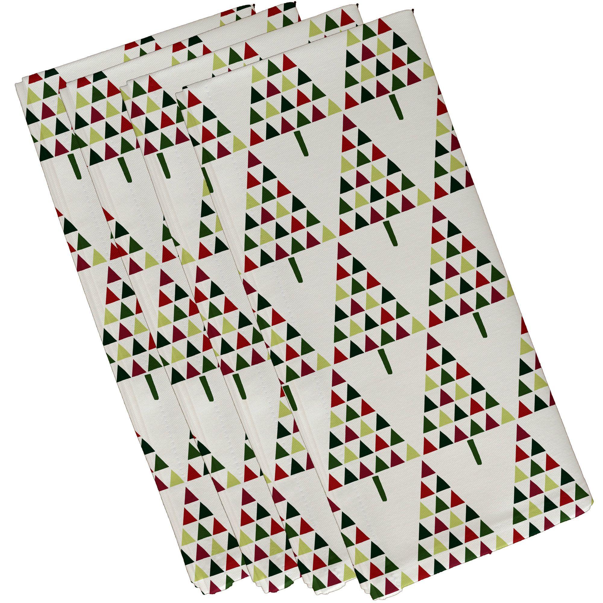 ChristmassTriangle Trees 2 Geometric Print Napkin