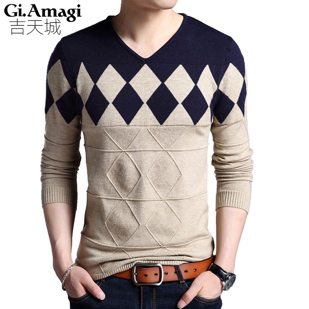 Men Pullover Men's 2017 Fall New Sweater Junior V-neck Sweater ...