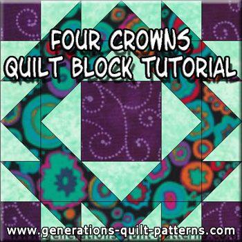 Four Crowns Quilt Block Pattern in 3 Sizes | Paper piecing ... : 4 quilt block patterns - Adamdwight.com