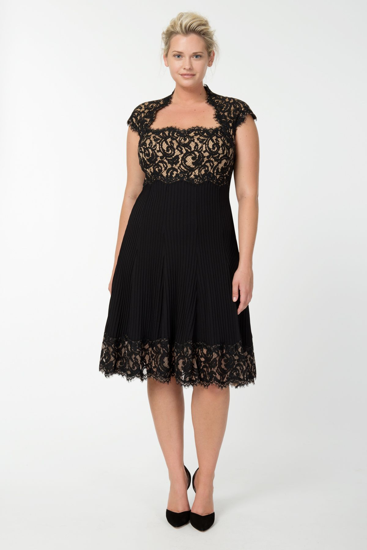 Pintuck jersey and lace cap sleeve dress in black nude tadashi