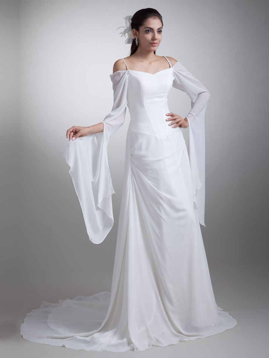 Spaghetti straps chiffon wedding dress with long sleeves and court