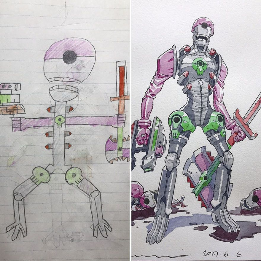 Dad Turns His Sons Doodles Into Anime Characters And The Result