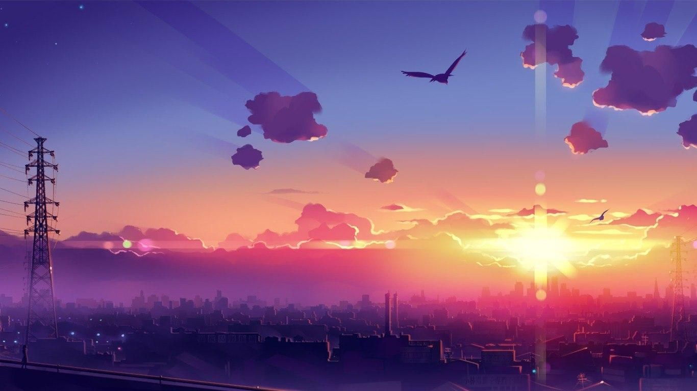 Anime Sunset 1366x768 In 2020 Anime Scenery Wallpaper