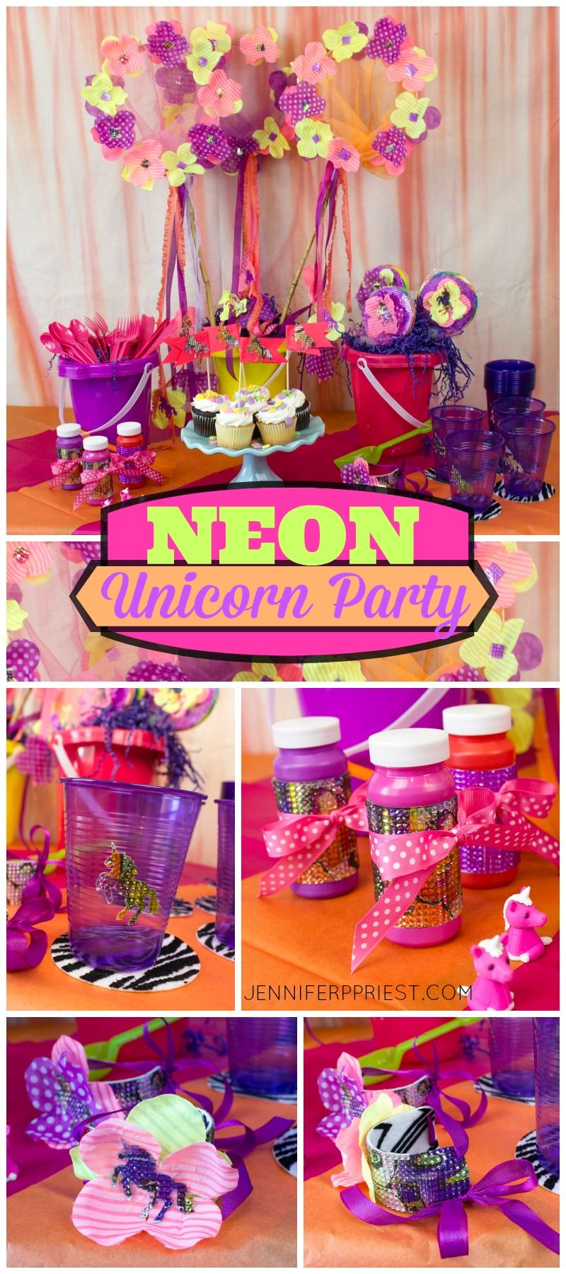 Neon Unicorn Birthday Party Decor - A Blog Hop | Featuring the