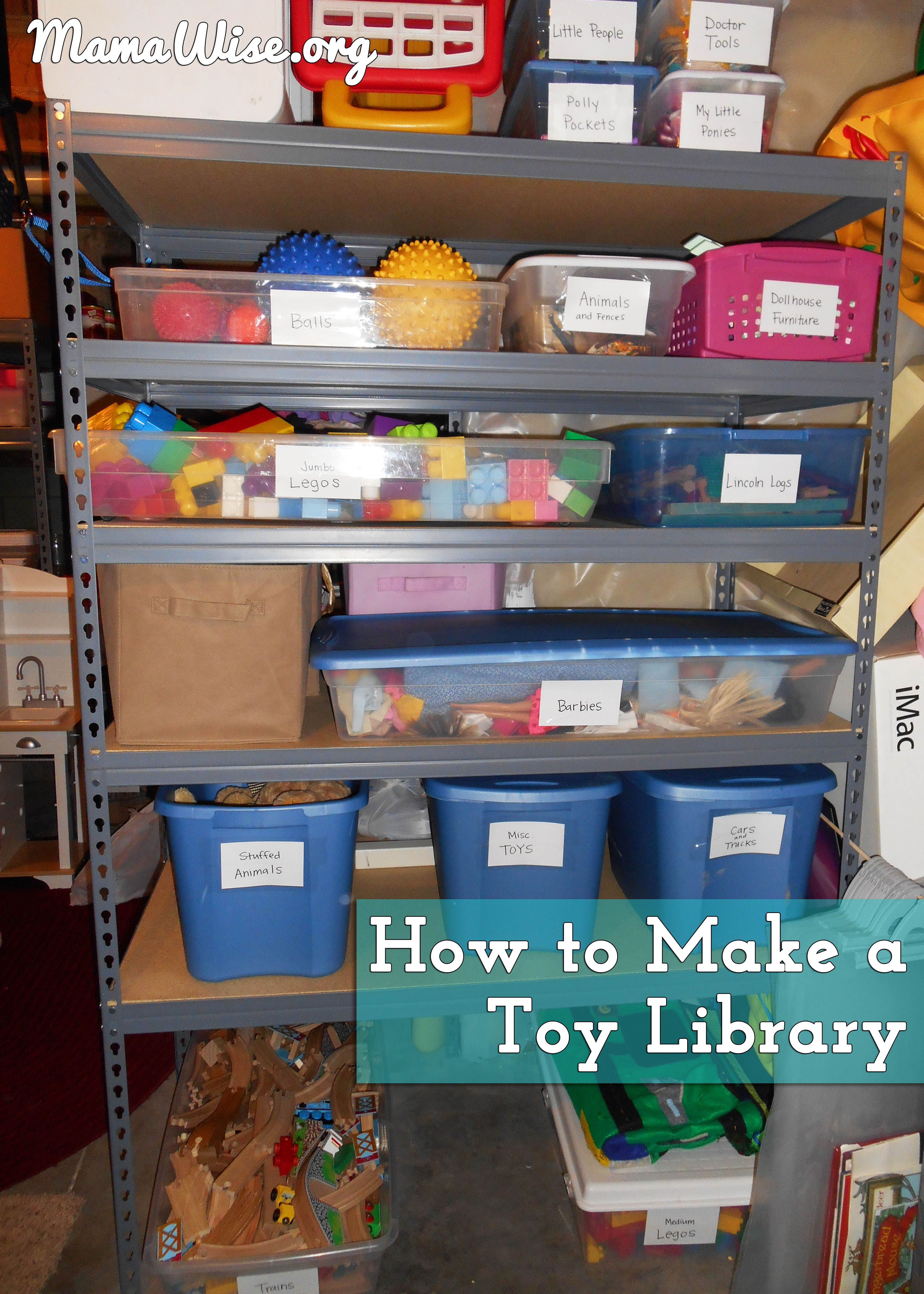"""TOY LIBRARY: We created a shelf down in our basement where we store ALL the toys. We call it the Toy Library or Toy Shelf. About once a week we have a """"Toy Swap"""" where we exchange the toys that they have had upstairs that week for a new set of toys for the week. Usually we only bring up 4 or 5 activities at a time."""