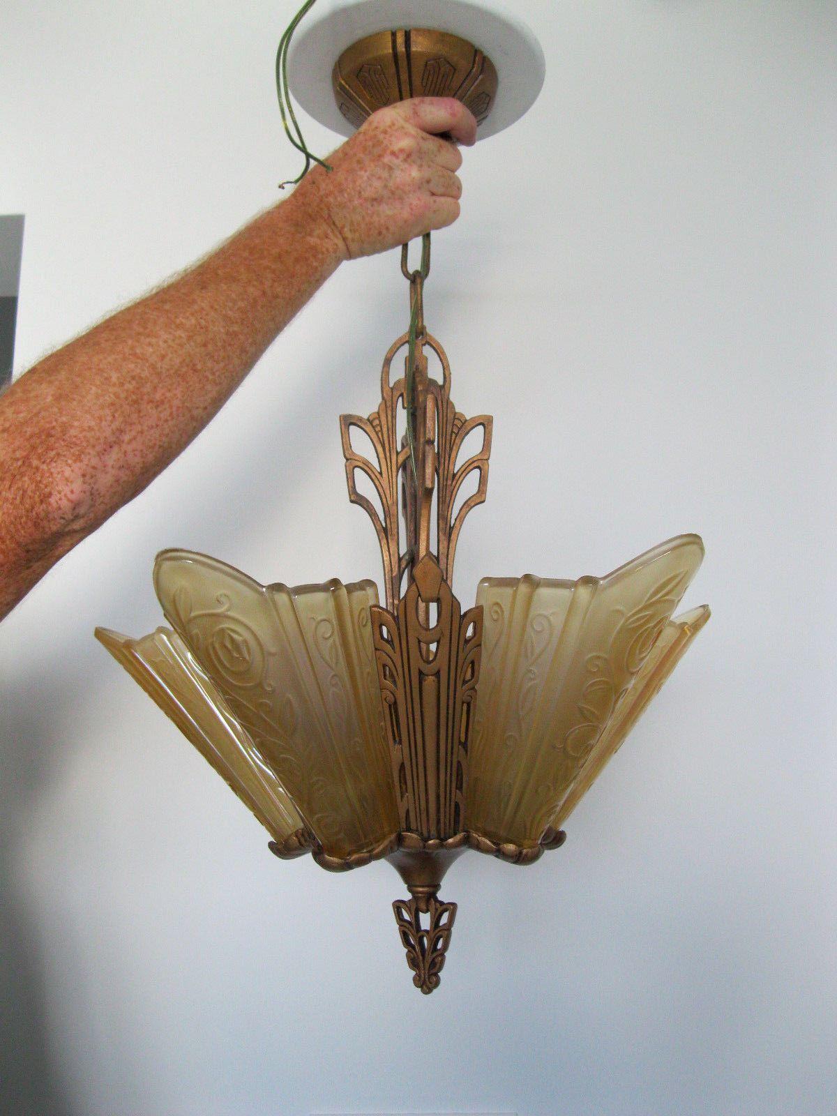 ornate lighting. Antique Original 1930s Art Deco Slip Shade 5 Light Ornate Chandelier | EBay Lighting