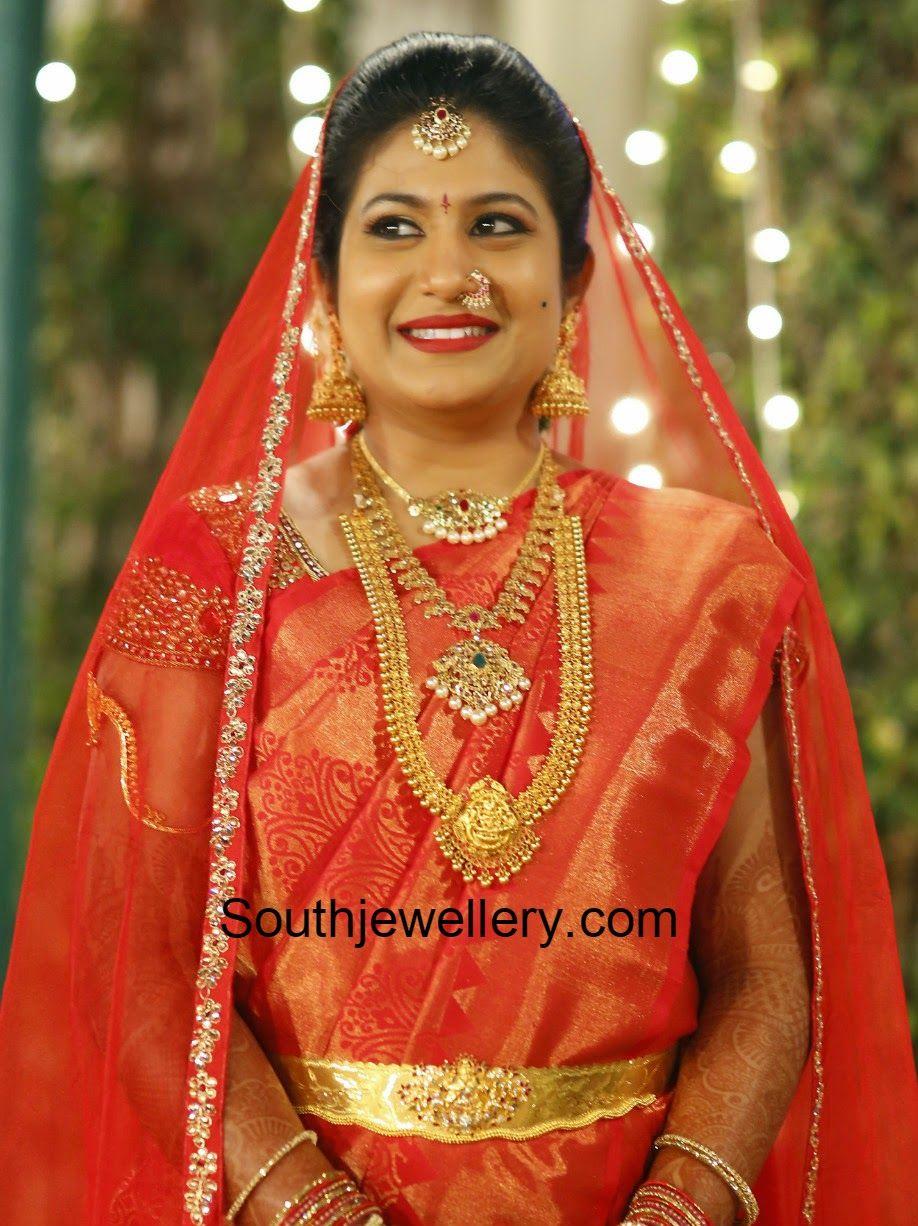 Suhasini in gundla haram jewellery designs - Bride In Antique Jewellery Latest Jewellery Designs