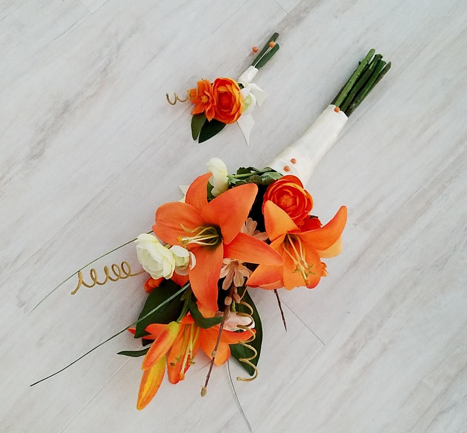 Event Presentation Bouquet Orange Tiger Lily Vow Renewal