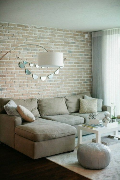 Grey Living Room With Exposed Brick Wall Brit Co Brick Wall Interior Living Room Brick Interior Wall House Styles