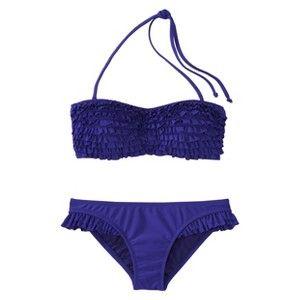 82b47c5660bb2 Target Mobile Site - Xhilaration® Junior's 2-Piece Blue Ruffle Bandeau  Swimsuit