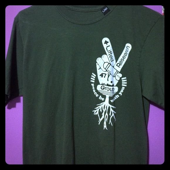 Forest green lifted peace research group t shirt Forest green, lifted research group t shirt with peace sign. Peace be with you. Never been worn. Lifted research group  Tops Tees - Short Sleeve
