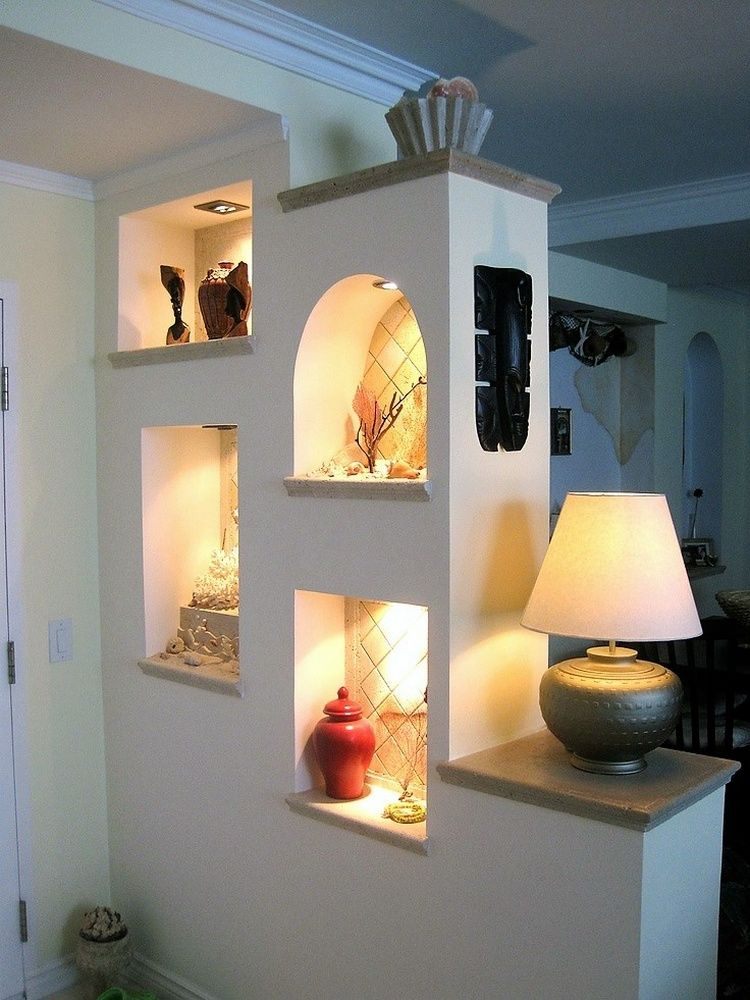 Partition wall lit and decorative for living room cubbies on back home office also awesome improvement ideas with dividers decor rh pinterest