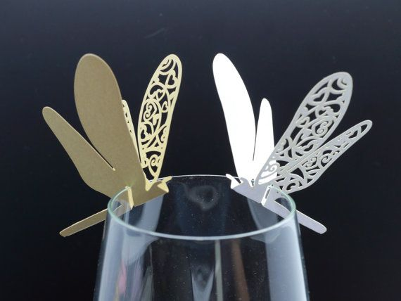 100 Laser Cut Dragonfly Table Name Cards For Wedding Party Glass Of