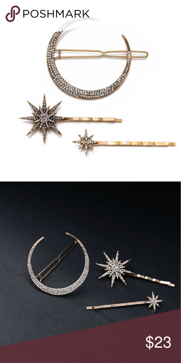 3Pcs Women Vintage Rhinestone Moon Star Hairpins Brand new 3 piece gold set Accessories Hair Accessories #vintagerhinestone