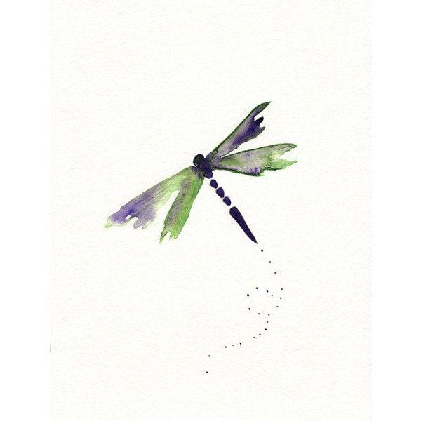 Beauty Fly Dragon Purple Green Dragonfly Watercolor