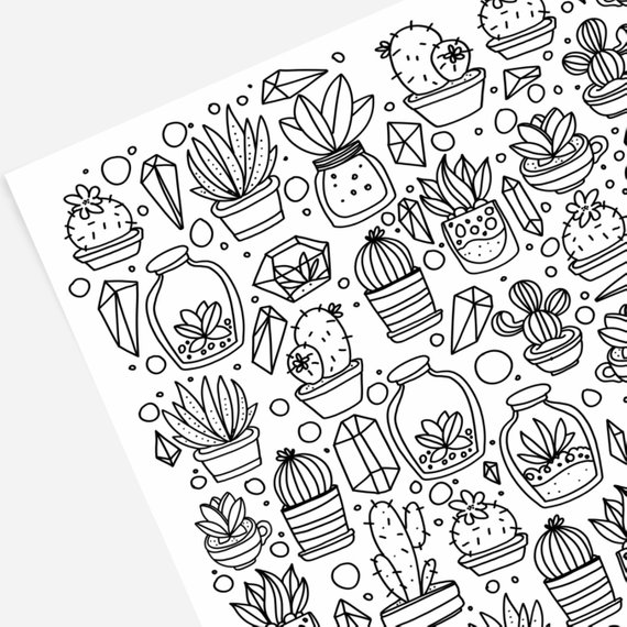 Succulents And Cactus Hand Drawn Coloring Page Print Color Etsy How To Draw Hands Coloring Pages Hand Doodles