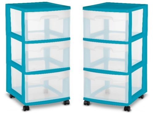 3 Drawer Storage Containers Plastic Rolling Organizer Bin Craft Supplies  Cart X2
