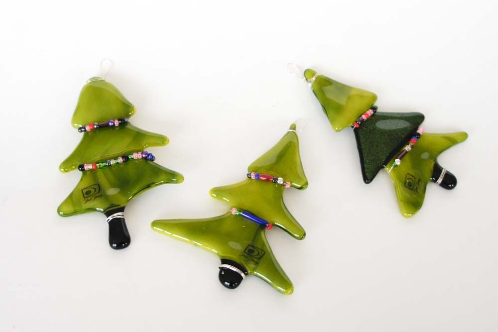Fused glass - Small 8 cm Christmas Trees Glass made by me