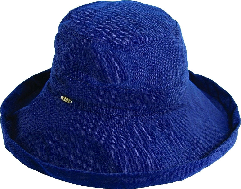 08b174e3896 Women s Cotton Big Brim Hat with Inner Drawstring   UPF 50+ rating - Navy -  C411FU8YLKJ - Hats   Caps