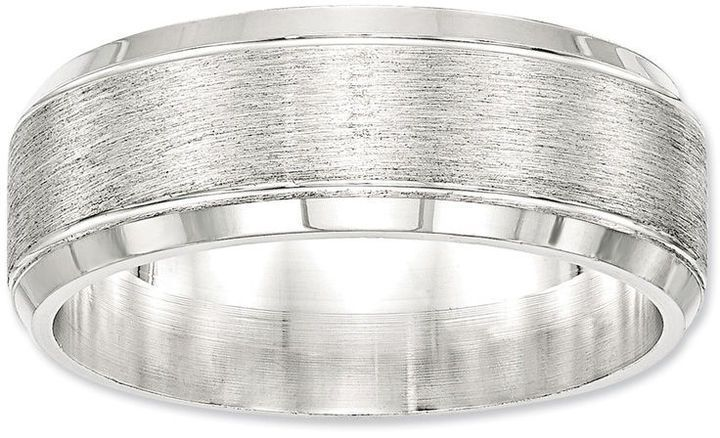 Zales Mens 8.0mm Milgrain Beveled Edge Wedding Band in Sterling Silver