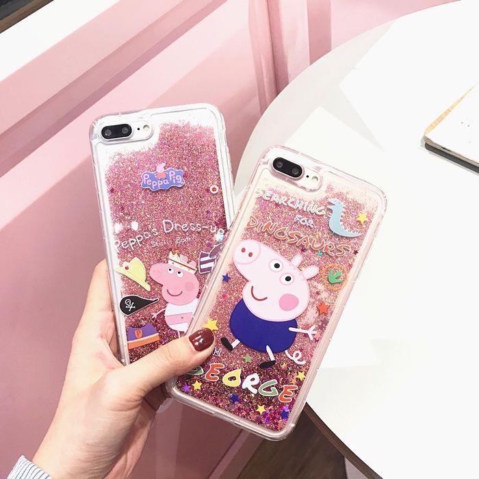 9706aa0e0 Peppa Pig Liquid Dynamic Bling Glitter Case Cover For Iphone 7 7Plus 6S Plus