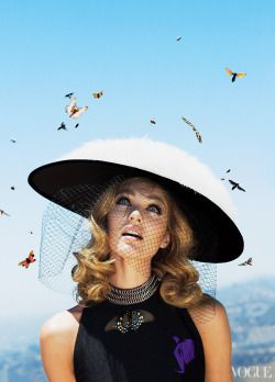 You may be opting for an extra-large hat this summer if Candice Swanepoel has anything to say about it.Photographed by Alex Prager