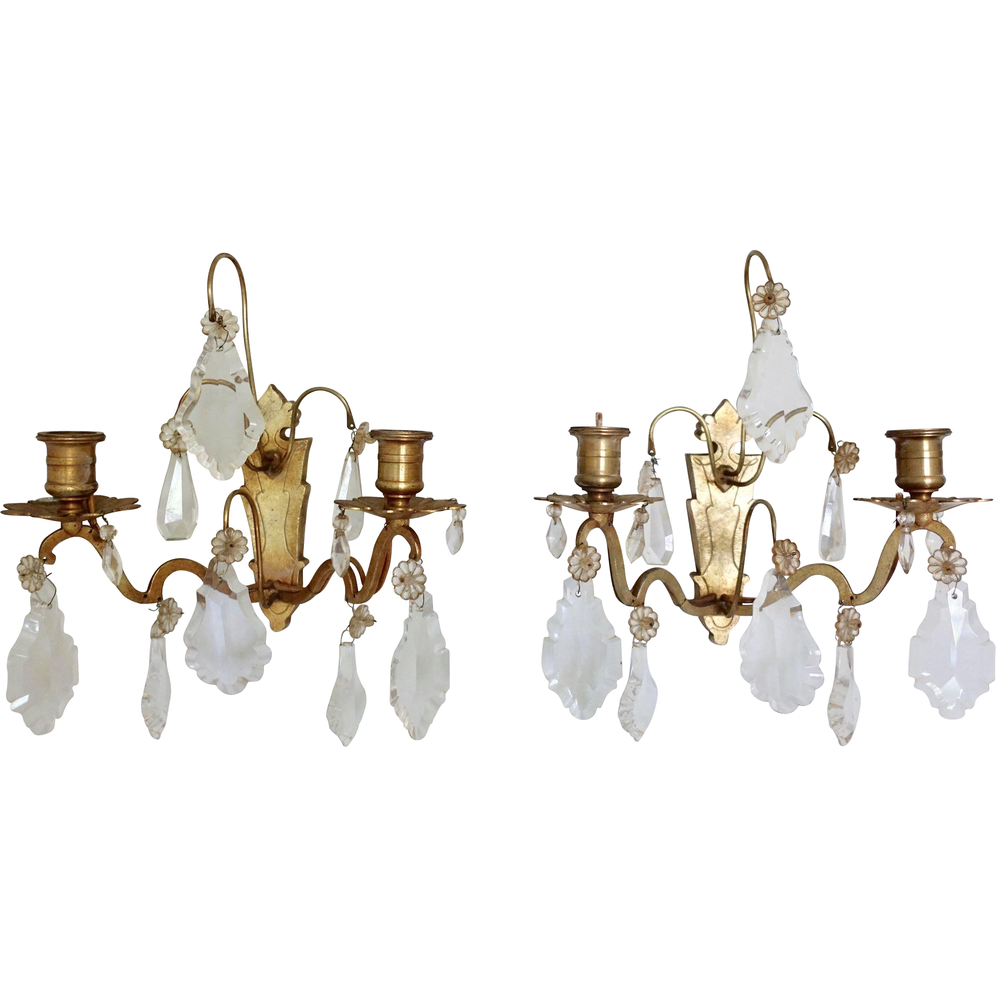 Antique French Bronze Crystal Wall Sconces French Antiques Wall Sconces Antiques