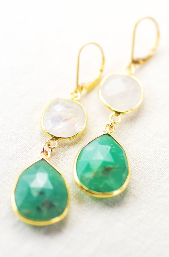 Ipo earrings - moonstone chrysoprase gold earring, aqua drop earring, aqua white dangle earring, wedding jewelry, bridesmaid earring, hawaii...