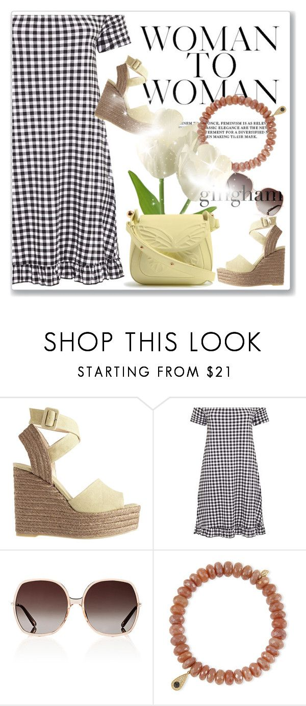 """""""Check Republic: Gingham Dress"""" by andrejae ❤ liked on Polyvore featuring Castañer, Chloé, Sydney Evan, Sophia Webster, gingham, polyvoreeditorial and polyvorecontest"""