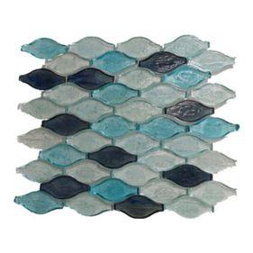 Gl Stone Wavy Shaped Glass Mosaic Tile Sky Blue And White 1